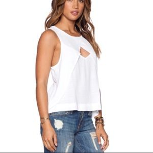 Free People Crinkle Look Through Solid White Top L